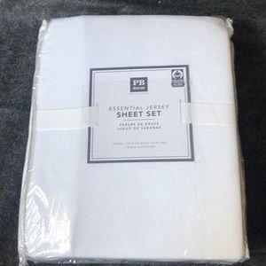 Pottery Barn dorm essential jersey sheet set